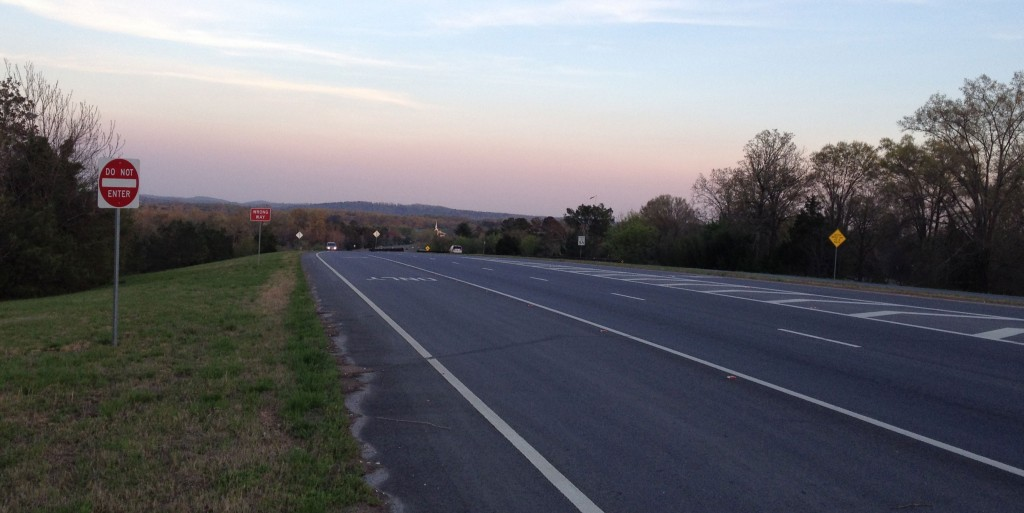 Hwy 27 Bypass at Osborn Rd in Chickamauga. Napier/Watoosa Ridge is directly ahead on the horizon (click to enlarge)